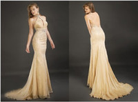 Champagne Open back Halter Sheath Column Floor length Weddin...