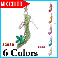 Wholesale High heeled shoes Diamond Pendants inlay Gemstone Mix Color Enamel Women s Lady s Pendants Hottest