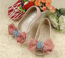 Wholesale 2012 Pearl Lace Bowknot Shoes Peep toe Rose Princess Flats Children s girls Dress Shoe Sizes