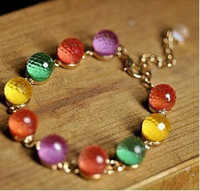 Wholesale Beautiful Colorful Rainbow Candy Ball Cuff Fashion Bracelet HOT