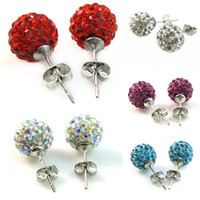 Wholesale Czech Crystal Disco Clay Ball Stud Earrings mm pairs