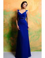 Wholesale Chiffon V neck Empire Sash Floor Length Royal Blue Bridesmaid Dress Evening Dress