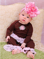 Wholesale Toddler Girls Party Boutique Pink Outfit with Lace Pants Leggings tights pants amp Shirt Blouse T T