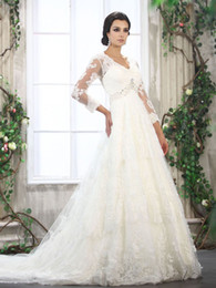 Wholesale 2013 V Neck Empire Wasit Beads Working Lace Satin longSleeves Chapel Train Bridal Gown Wedding Dress