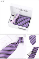 Wholesale mens neck tie set include ties cufflinks tie clips amp kerchief cm sets From colors