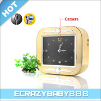 Wholesale Electronic square Clock Chrome housing Style Hidden Spy Camera