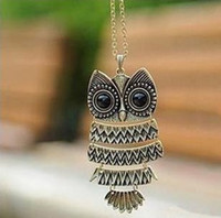 Wholesale Beautiful Fashion Bronze Cute Owl With Big Eye Pendant Necklace