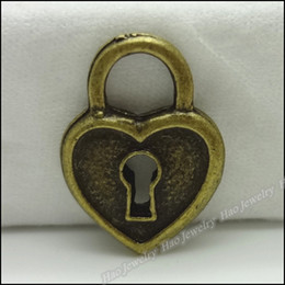 Fashion Heart Lock Charms Pendants Antique bronze zinc alloy Necklace Jewelry Craft 200pcs lot