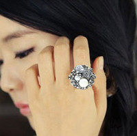 Wholesale Luxurious charming Pearl roses open ring fashion elegant women finger ring multicolor can mix