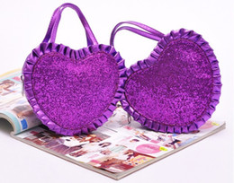 Wholesale 2012 New Hot Cosmetic Make Up Bags Handbags for Women Purple Sequins Heart Shape Flounce g