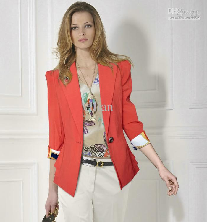 Women Suits Fashion Ladies Jacket Elegant Office Wear Red Jacket ...