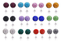 Wholesale 10MM Earrings Studs Clay Disco Crystal Ball Bead Hip Hop Earring pairs