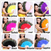 Wholesale peacock feather fan for dance or as wedding favor amp home decorations