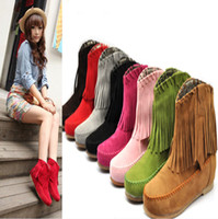 Wholesale Hot Sale Women s Ladies Girls Fashion Tassel Styles Boots Flat Ankle shoes Multicolor