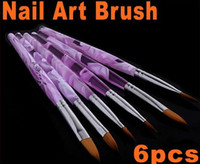 Gel Nail Brushes 6 Plastic Acrylic Nail Art Brushes Set Pen Design 6Pcs set free shipping drop shipping HB4571