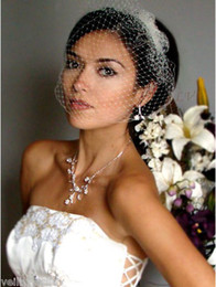 Wholesale White or Ivory Tulle with Comb Bird Cage Wedding Veil Birdcage Veil Headpiece VA