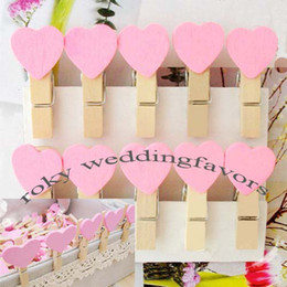 Wholesale Freen Shipping Pink Color Heart shape wooden clips Mini Wooden Clothes Peg Mini Clips for Wedding Favors