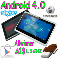 Wholesale 50pcs Q88 Q8 quot Allwinner A13 Capacitive Touch Screen Android Boxchip Tablet pc MB GB Webcam WIFI Play Store Colorful MID