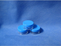 Wholesale T BL g blue cap plastic empty clear jar cosmetics container cosmetic bottle