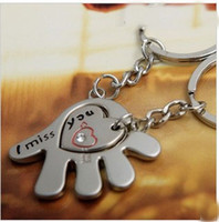 Wholesale 50pcs PR Alloy Love in the palm lovers keychain Valentines Gift Christmas gift