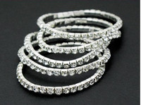 Wholesale Rhinestone Crystal Silver Stretch Tennis Wedding Chain Bracelets Women s bracelet