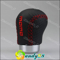 Wholesale Free Ship Momo Sports Racing Gear Stick Shift Knob Aluminum Leather Universal For Manual Retail box