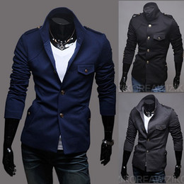 Wholesale 2012 HOT New Men Suit Stand up collar Epaulet Men s Clothing Slim Small suit Autumn