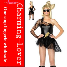 Wholesale Sexy Lady GAGA costume leather party costumes Fancy carnival costume for adult with One lace glove
