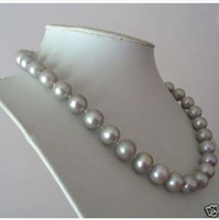 Wholesale AAA MM SOUTH NATURAL GRAY PEARL NECKLACE