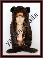 Wholesale NEW SPIRIT FAUX FUR ANIMAL HOOD WINTER HATS WITH LONG SCARF AND GLOVES Brown Bear jnnbvctxd