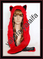 Wholesale Fluffy Faux Fur Animal Hood hat FIRE WOLF Winter Hats With Scarf oiynbjdgwex