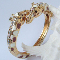Women's alloy w - Unique Deer Giraffe Bracelet Bangle w Clear Rhinestone crystals CMC03301
