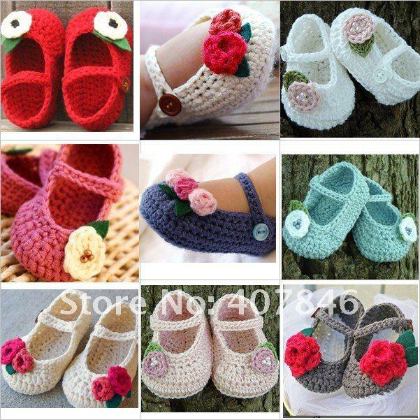 2017 Crochet Baby Flower Shoes Kids Cute Infant Handmade Shoes ...