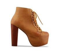 Ankle Boots ankle boots comfortable - 2012 trendy high heel platform wooden heel boots colors comfortable lace up boots