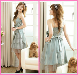 Wholesale Lovely Spaghetti strap Ball gown Knee length Spaghetti strap bow layered party dresses