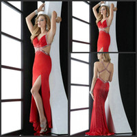 Wholesale Red Prom Dresses Sexy V neck Halter Beaded Line Evening Party Gowns Formal For Wedding DHgate