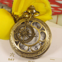 Wholesale 2012 Hot Steampunk Six leaf Pocket Watch With Compass Necklace Pendant y355
