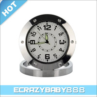 Wholesale 30FPS Stainless Steel Table Clock Spy Camera Motion Activated Digital Video Recorder DVR