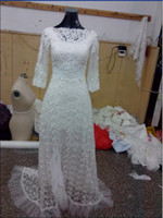 Wholesale Modern New A Line Sheath Column High Collar Applique Court Lace wedding dresses bridal gowns