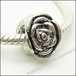 Tibetan Rose Charms European Bead Fit Bracelet Zinc Alloy Antique Silver Big Hole Beads 100pcs lot 10x12
