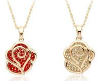 costume jewelry necklace - Austrian Crystal Necklace Gold Rose Flower Costume Jewelry Necklaces Handmade Gemstone Jewelry jddx8