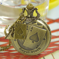 ace watch - 2012 Hot Victorian Flush Poker Pocket Watch With Ace Poker Necklace Pendant y371