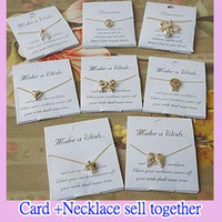 Wholesale Make a wishing Necklaces with the cards gold vintage chains charm Gift cheap hot new fashion jewelry