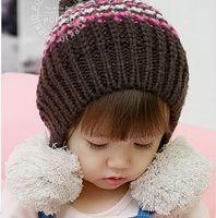 Girl Winter Crochet Hats Whosale EMS Free Shipping Cute Venonat Crochet Beanie Fashion Baby's Cap Kids Hat For Toddler