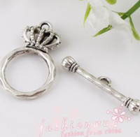 Wholesale MIC IN STOCK Tibetan Silver Plated Imperial Crown Toggle Clasps x15 mm