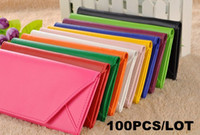 Wholesale 100pcs HOT SALE Fashion New Envelope Shaped Wallet Purse Card Bag PU Leather Multi Colors
