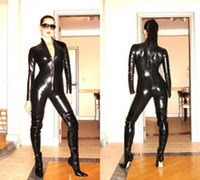 Zentai / Catsuit Costumes latex lingerie - BLACK PVC LATEX COSTUMES CROTCHLESS CATSUIT Jumpsuit SEXY LINGERIE F034