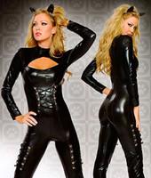 Zentai / Catsuit Costumes catsuit costume - Queen of Felines Black Wetlook Catsuit Costume set F039
