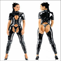 Wholesale BLACK PVC LATEX COSTUMES CROTCHLESS CATSUIT Jumpsuit SEXY LINGERIE F040