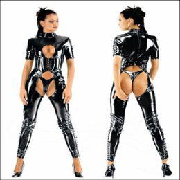 Wholesale BLACK PVC LATEX COSTUMES CROTCHLESS CATSUIT Jumpsuit SEXY LINGERIE F040